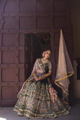 Green Color Embroidery Heavy Net Lengha Choli With Duptta