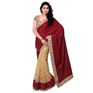 Maroon Color Evergreen Selling Velvet Designer Embroidered Saree