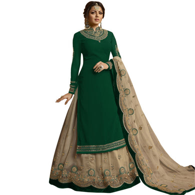 Green Color Designer Bollywood Heavy Faux Georgette Embroidered Plazzo Suit