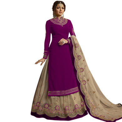 Exclusive Purple Color Bollywood Heavy Faux Georgette Embroidered Plazzo Suit