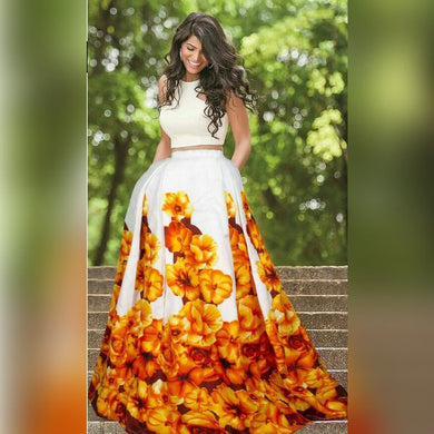 Yellow Digital Printed Satin Banglory Silk Semi Stitched Lehenga Choli