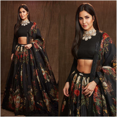 Black Color Pure Orgenzza Silk Printed Semi Stitched Lehenga Choli