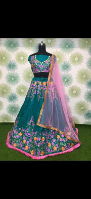 Rama Green Color Embroidery Heavy Net Lengha Choli With Duptta