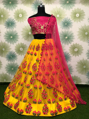 Yellow Color Heavy Net Embroidery Lehnga Choli With Duptta