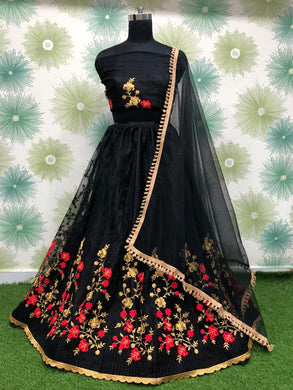 Black Color Anarkali Designer Circular Heavy Net Embroidered Lehenga Choli