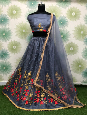 Grey Color Anarkali Designer Circular Heavy Net Embroidered Lehenga Choli