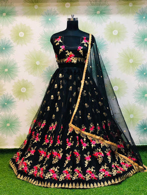 Wedding Festival Black Color Traditional Heavy Net Embroidered Lehenga Choli