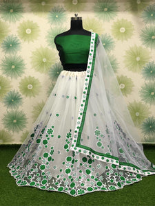 Green Color Wedding Party Net Embroidered Semi Stitched Lehenga Choli