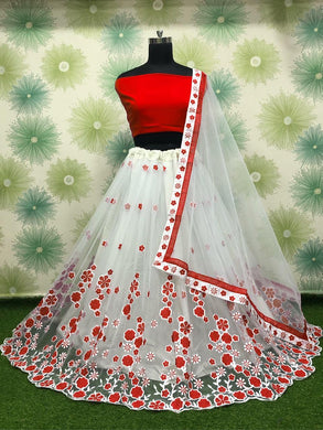 Red Color Wedding Party Net Embroidered Semi Stitched Lehenga Choli