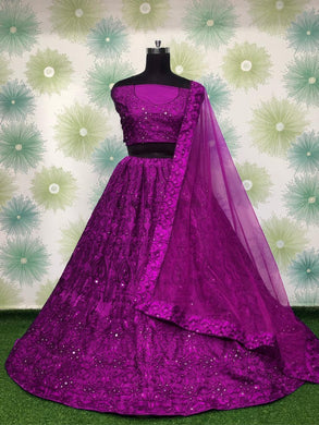 Purple Color Wedding Ceremony Tapeta Silk Embroidered Lehenga Choli