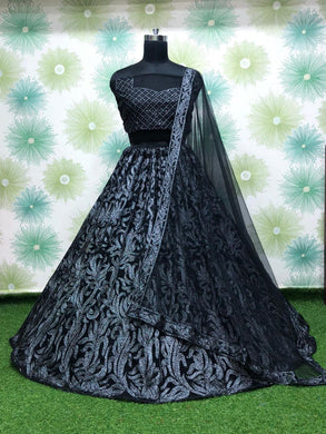 Black Color Anarkali Circular Heavy Net Embroidered Semi Stitched Lehenga Choli