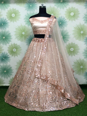 Cream Color Embroidery Heavy Net Lengha Choli With Duptta