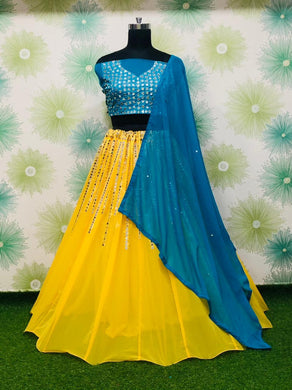 Yellow And Blue Color Embroidery Heavy Net Lengha Choli With Duptta