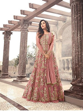 Indian Bollywood Pink Embroidered Soft Net Semi Stitched Gown