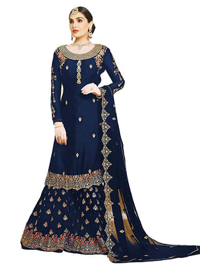 Heavy Attractive Blue Color Wedding Georgette Embroidered Plazzo Suit