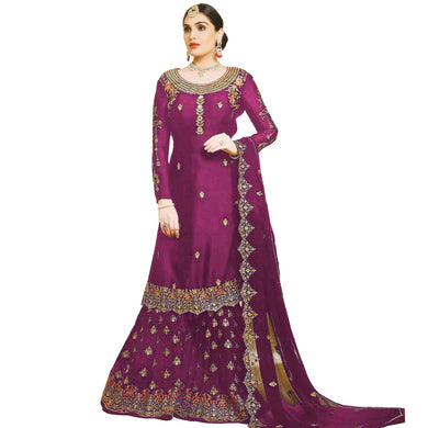 Traditional Festival Purple Color Wedding Georgette Embroidered Plazzo Suit