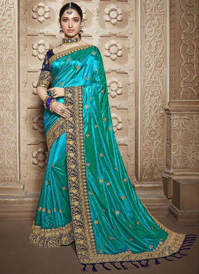 Bridal Wedding Bollywood Blue Rangoli Silk Embroidered Saree With Blouse