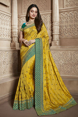 Yellow Wedding Bollywood Bridal Rangoli Silk Embroidered Saree With Blouse