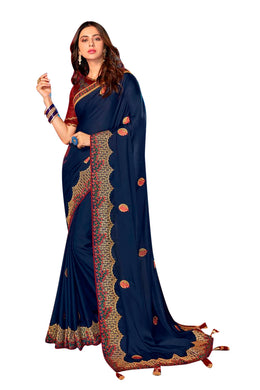 Blue Color Embroidery Rangoli Silk Designer Saree