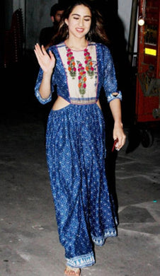 Bollywood Style Blue Colour Heavy Crape Kurti