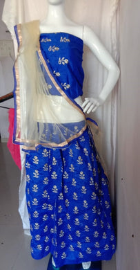 Attactive Blue Colour Georgette With Embroidery Work Lehenga