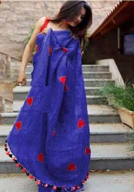 Awasome Blue Colour Chanderi Silk Cotton With Embroidery Work Saree