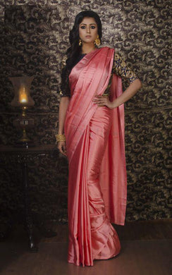 Designer Pink Colour Satin Crepe Silk Saree