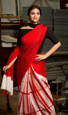 Best Quality Red Colour Japan Crepe Saree