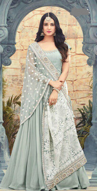 Best Quality Grey Colour Georgette With Embroidery Work Salwar Suit