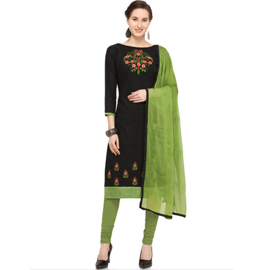 Cotton Embroidered, Green Color Solid Kurta & Churidar Material (unstitched)