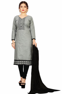 Soft Cotton Kurta & Churidar Unstitched Dress Material (grey)