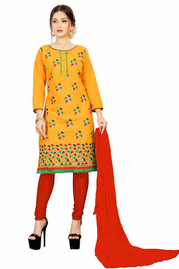 Soft Cotton Kurta & Churidar Unstitched Dress Material (yellow)