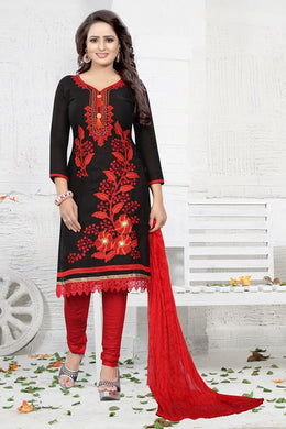 Faux Georgette Black Color Embroidered Kurta & Churidar Material (unstitched)