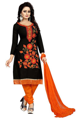 Cotton Embroidered Black Color Salwar Suit Material (unstitched)