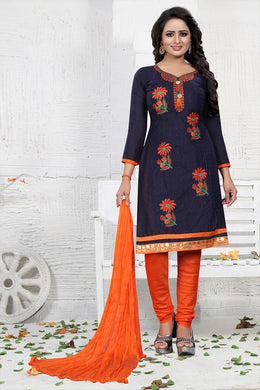 Cotton Blend Embroidered Blue Color Gown/anarkali Kurta & Bottom Material (semi Stitched)