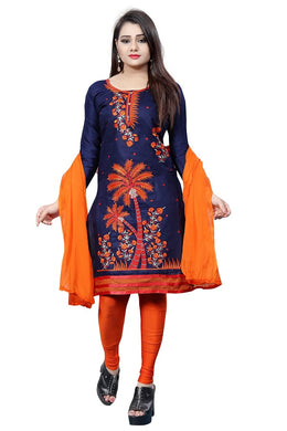Cotton Embroidered Blue Color Salwar Suit Material (unstitched)