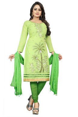 Cotton Embroidered Green Color Salwar Suit Material (unstitched)