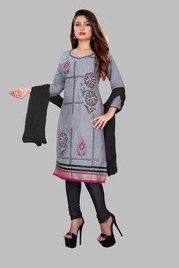 Cotton Embroidered Grey Color Salwar Suit Material (unstitched)