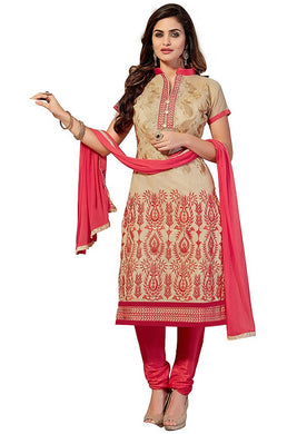 Cotton Embroidered Cream Color  Salwar Suit Material (unstitched)
