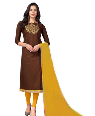 Cotton Embroidered Coffee Color Salwar Suit Material (unstitched)