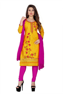Cotton Embroidered Yellow Color Salwar Suit Material (unstitched)