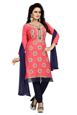 Cotton Embroidered Pink Color Salwar Suit Material (unstitched)