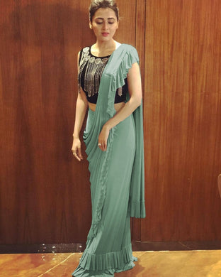 Letest Bollywood Designer Firogi  Hand Moti Work Blouse + Awesome Faux Freel Work Saree