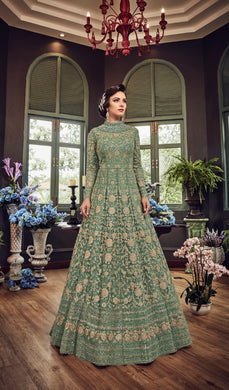 Amazing Designer Pic Witt Light Sea Green Colour Net With Embroidery Work Salwar Suit