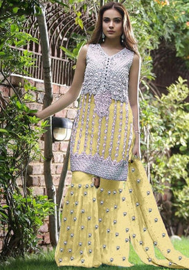 New Bollywood Yellow Colour Yamini Net With Embroidery Work Salwar Suit