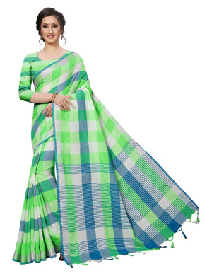 Appropriately Cotton Polyester Silk Green Color Saree