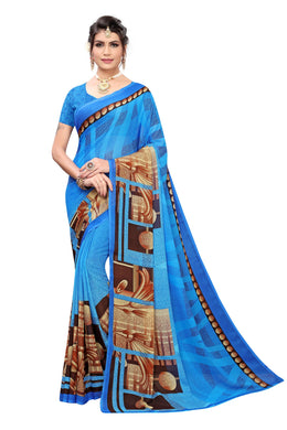 Borivali Blue Georgette Printed Saree
