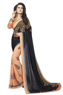 Plant Black Georgette Printed Saree