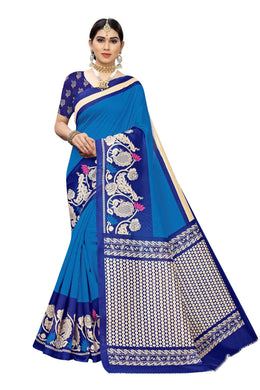 Lavinna Blue Art Silk Printed Saree
