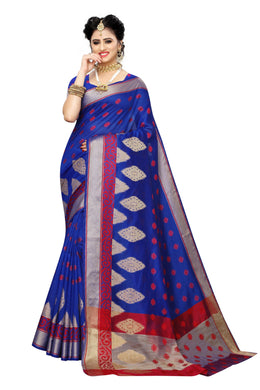 Monsoon Blue Banarasi Jacquard Printed Sareea